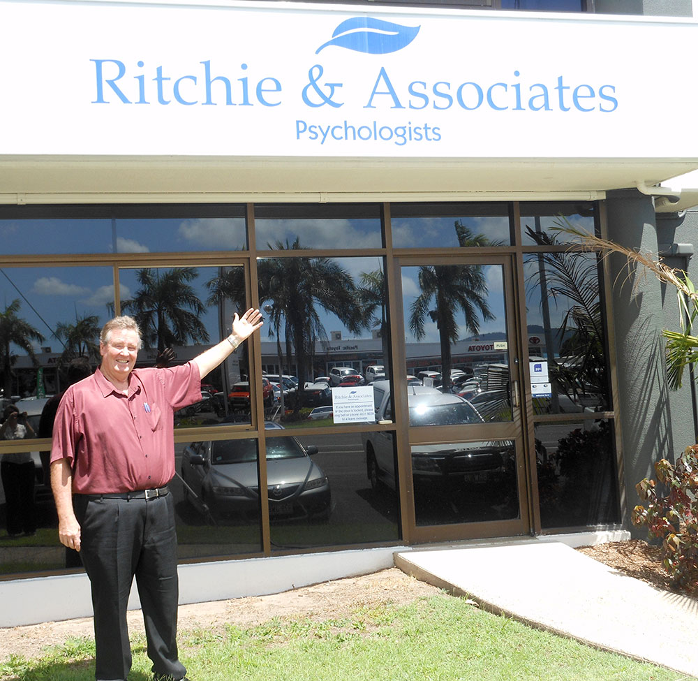 Ian out front of Ritchie and Associates Psychologists